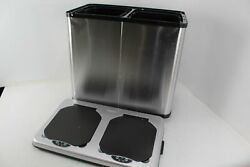 SEE NOTES iTouchless 16 Gal Touchless Trash Recycle Bin Dual Compartment