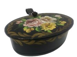 Vintage Tole Hand Painted Crumb Catcher Silent Butler Black Tin Roses Toleware $10.99