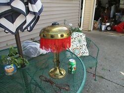 AUSTRIAN ANTIQUE LAMP CA 1920 WITH RED AND GREEN JEWELS $465.00