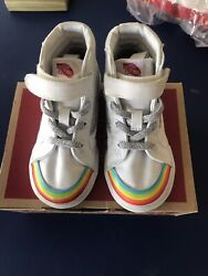 VANS Off the Wall Girls Shoes Rainbow amp; Natural White Canvas Size 8.5 Toddler $14.99
