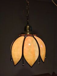 Vintage Hanging Tulip Lamp Pendant Light Stained Slag Glass 10in $147.00