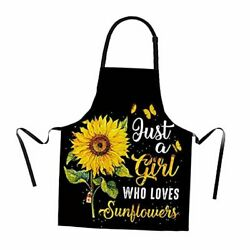 Sunflower Apron for Women with Adjustable Neck Strap Beautiful Art Kitchen $20.49