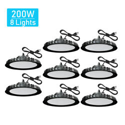 8 Pcs 200W UFO Led High Bay Light Warehouse Factory Commercial Lighting Fixtures