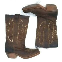 Rocket Dog 10 Womens Boots Western Grommets Brown Leather Square Toe Slip On $18.99