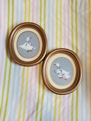 VINTAGE HOMCO BLUE BOW GOOSE PLAQUES WALL DECOR COTTAGECORE COUNTRY KITCHEN 1986 $15.00