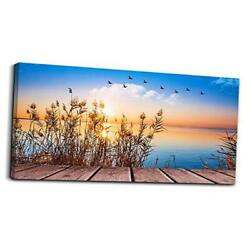 Wall Art for living room Canvas Print Artwork 24x48 inches Blue Sunrise Scenery $133.85