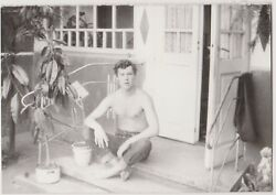 abstract pose Photo Shirtless Nice GUY Muscular Man Sit on Floor Vintage Gay INT $13.99