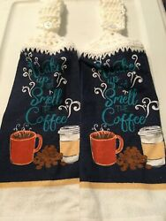 2 Crocheted Hanging Kitchen Towels quot;Wake Up and Smell The Coffeequot; $5.99