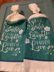 2 Crocheted Hanging Kitchen Towels quot;Plant Smiles Grow Laughter Harvest Lovequot; $5.99