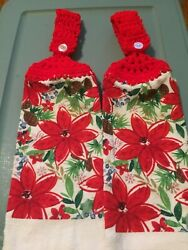 2 Crocheted Hanging Kitchen Towels quot;Poinsettaquot; $5.99