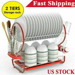 Large Capacity 2 Tier Dish Drainer Drying Rack Kitchen Storage Stainless Steel . $26.99
