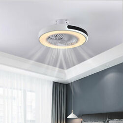 White Simple Fan Light Ceiling Lamp LED Chandelier Dimmable W Remote Control New $179.90