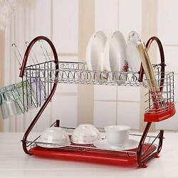 2 Tier Dish Drying Rack Stainless Steel Drainer Kitchen Storage Saver Stand NEW $26.99