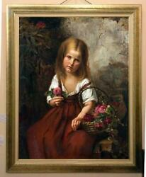 Old Master Art Antique Oil Painting Portrait small girl Flower on canvas 30quot;x40quot; $699.00
