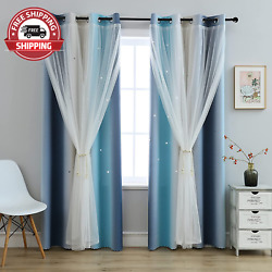 Blackout Star Kids Curtains for Girls Bedroom Living Room,Rainbow Stripe Double $57.99
