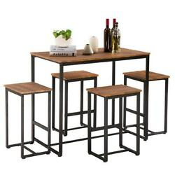 NEW 5 Piece Metal Dining Table Set W 4 Chairs Wood Dining Room Furniture Brown $175.89