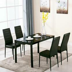 Set Of Glass Metal Dining Table Furniture and 4 Chairs Breakfast Kitchen Room $249.95
