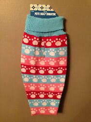 NWT Ugly Pet Sweater Dog Medium M Winter Clothes Pink Red Blue White Stripe Paws $9.99