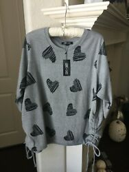 NWT Love Lace Gray amp; Black 3 4 Sleeve Top with Hearts Size 3X $10.00