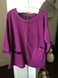 Ali Miles Purple amp; Black 3 4 Sleeve Top with 2 Front Pockets Size 3X $16.00