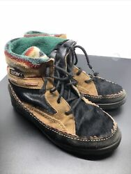 Vtg Tecnica Hiking Women#x27;s Boots Size 5 1 2 Brown Suede Fir Flannel Outdoor $14.99