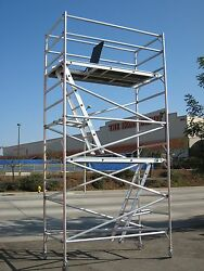 Aluminum Scaffold Rolling Tower 14' Deck High with Guard Rail Access Ladder CBM
