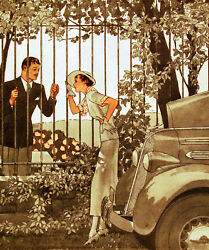 Vintage POSTER.Home wall.Girl with broken car.Love.Room Decor.638 $16.00