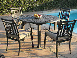 Heaven Collection Outdoor Living Aluminum Patio Furniture 5 Piece Dining Set A