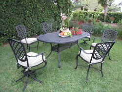 Liana Cast Aluminum Outdoor Patio Furniture 7 Piece Dining Set w 2 Swivel Chair