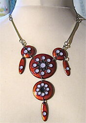 Very rare modernist pendant196070 and enamelled metal SIGNED MICHELVINTAGE