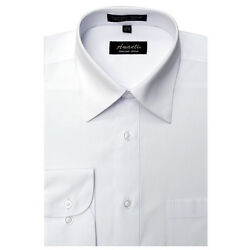 Mens Dress Shirt Plain White Modern Fit Wrinkle Free Cotton Blend Amanti Spread $20.99