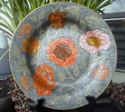 Exotic Floral India Cloisonne Brass Gold Orange Cream Glitter Bowl Dish Vessel