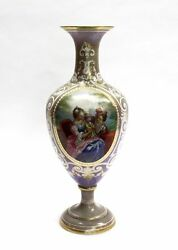 LARGE ANTIQUE FRENCH OPALINE GLASS VASE HAND PAINTED SCENE GOLD GILDED