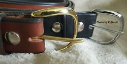 Handmade Amish Leather Work Belt for Men or Women with Plain Rounded Buckle $38.00