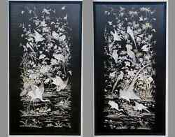 PAIR OF SUPERB ANTIQUE CHINESE SILK EMBROIDERED PANELS HUNDRED BIRDS DESIGN QING