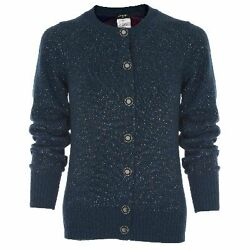 $3050 12A NEW CHANEL Torquoise Sparkle Cashmere CARDIGAN SWEATER Jacket 38