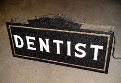 1920's pre neon Dentist sign milk glass letters w porcelain light bulb sockets