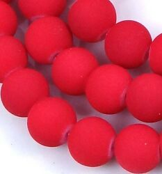 8mm Matte Frosted Neon Rubberized Glass Round Beads  - Red 14