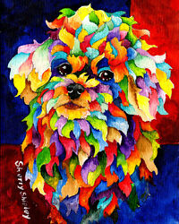 PARTY POODLE 8X10 DOG Colorful Print from Artist Sherry Shipley $17.95