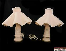 Pair of Pink Satin Glass Night Stand Girls Electric Lamps Footed Wavy Shades VTG $147.95