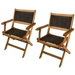 Phat Tommy Outdoor Patio & Garden Sea Breeze Folding Armchair (set of 2)