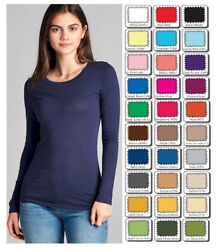 Womens T Shirt Crew Long Sleeve Light Weight Active Basic Stretch Top S M L $9.95