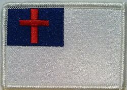 Christian Flag Embroidered Iron-On Patch Biker Cross Emblem White  Border