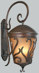Burnished Bronze And Seedy Champagne Glass Large Exterior Wall Light