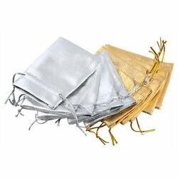 Lot of 100/50 Gold Silver Stain Organza Jewelry Gift Wedding Favors Bags Pouch $9.99