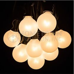 100 Foot Outdoor Globe Patio String Lights - Set of 100 G40 White Pearl Bulbs