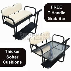 Club Car DS Golf Cart Flip Folding Rear Back Seat Kit with Diamond Plate - Buff $289.95