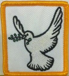 DOVE OF PEACE  Embroidery Iron-On Patch Morale Christian Emblem Gold Border