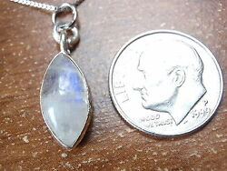 Rainbow Moonstone Marquise Cabochon Necklace 925 Sterling Silver New 697a
