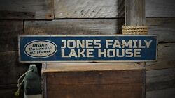 Custom Family Lake House Sign - Rustic Hand Made Vintage Wooden ENS1001096
